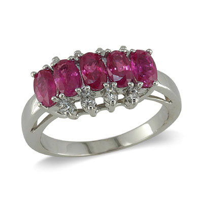 14K Gold Ruby and Diamond Ring Size 8.75