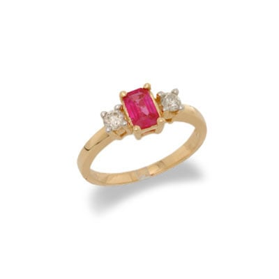 14K Gold Three Stone Ruby and Diamond Ring Size 6.5