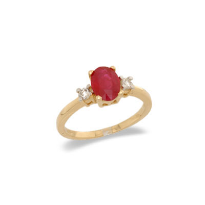 14K Gold Three Stone Ruby and Diamond Ring Size 7.5