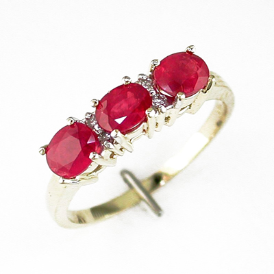 14K Gold Diamond and Three Stone Ruby Ring Size 6.75