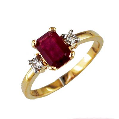14 Gold Diamond and Ruby Ring Size 6
