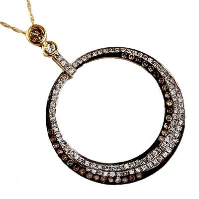 14K Yellow Gold Diamond and Brown Diamond Necklace