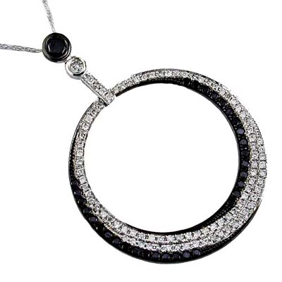 14K White Gold Diamond and Black Diamond Necklace