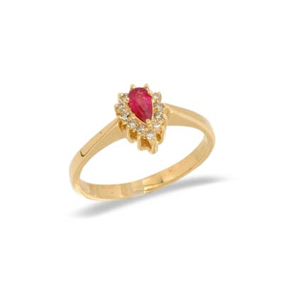 14K Yellow Gold Diamond and Ruby Ring Size 8