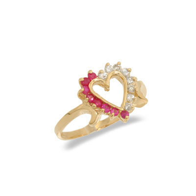 14K Gold Diamond and Ruby Heart Shaped Ring Size 7.5