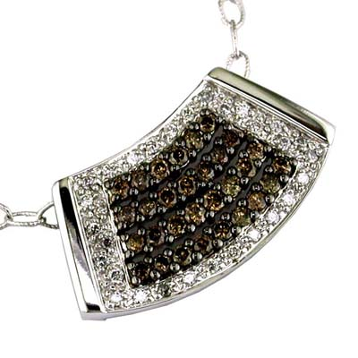 14K White Gold Diamond and Brown Diamonds Necklace