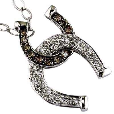 14K White Gold Diamond and Brown Diamond Horse Shoe Necklace