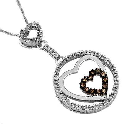 14K White gold Diamond and Brown Diamond  Heart Necklace