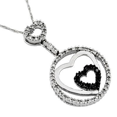 14K White gold Diamond and Black Diamond  Heart Necklace