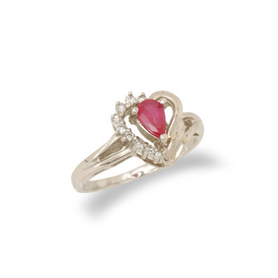 14K Gold Ruby and Diamond Heart Shaped Ring Size 7