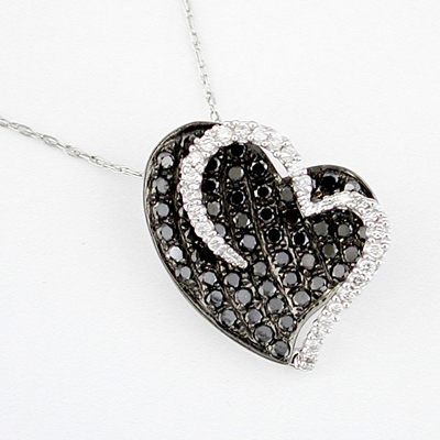 14K Diamond and Black Diamond Heart Necklace