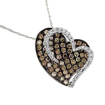 14K Diamond and Brown Diamond Heart Necklace