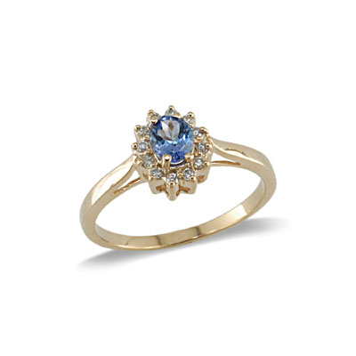14K Yellow Gold Tanzanite and Diamond Ring Size 8
