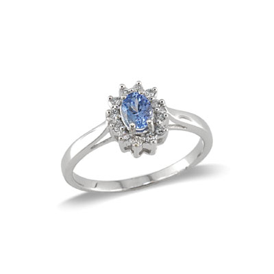 14K White Gold Tanzanite and Diamond Ring Size 6.5