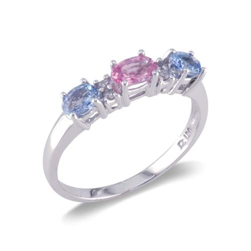 14K White Gold Three Stone Diamond and Multi-Color Gemstone Ring Size 7