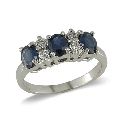 sapphire and diamond ring. Sale: 506.73. 14K Gold Three