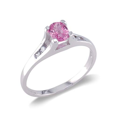 14K White Gold Diamond and Pink Sapphire Ring Size 7.75