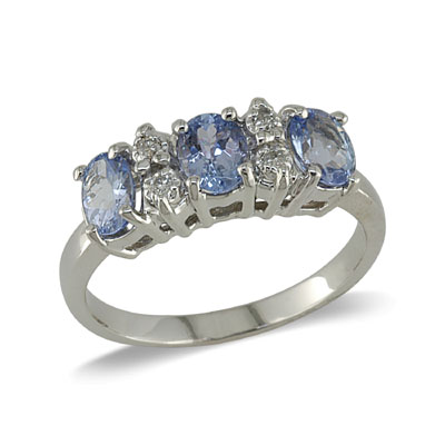 14K Gold Three Stone Tanzanite and Diamond Ring Size 6