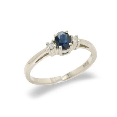 14K Gold Three Stone Diamond and Sapphire Ring Size 6
