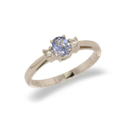 14K Gold Three Stone Diamond and Tanzanite Ring Size 6.5