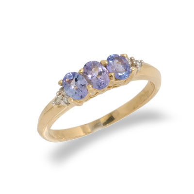 14K Gold Diamond and Tanzanite Ring Size 8