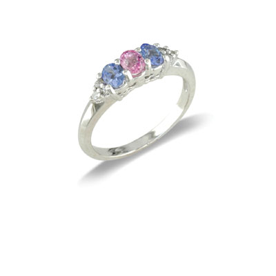 14K Gold Diamond and Multi Gemstone Ring Size 7.5