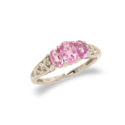 14K White Gold Diamond and Pink Sapphire Ring Size 6