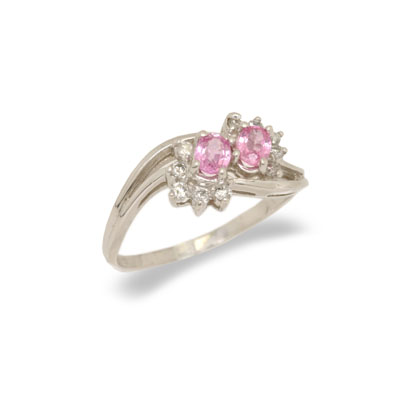 14K Gold Pink Sapphire and Diamond Ring Size 7.5