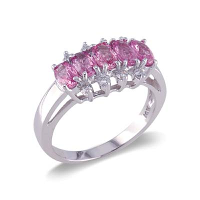 14K Gold Pink Sapphire and Diamond Ring Size 8