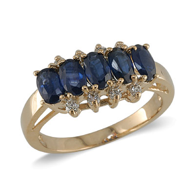 14K Gold Sapphire and Diamond Ring Size 7.5