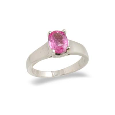 14K Gold Oval Pink Sapphire Ring Size 8