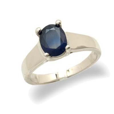 14K Gold Oval Sapphire Ring Size 6.5