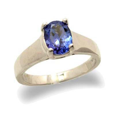 JewelryCastle 3-1574-GR-14KWG-8 14K Gold Oval Tanzanite Ring - Size 8