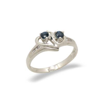 14K White Gold Diamond and Sapphire Ring Size 8