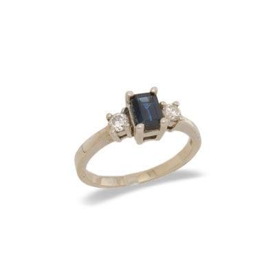 14K Gold Three Stone Sapphire and Diamond Ring Size 6