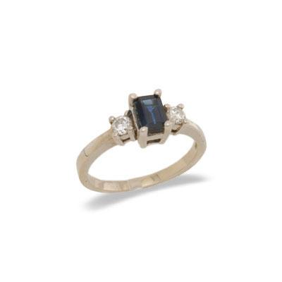 14K Gold Three Stone Sapphire and Diamond Ring Size 6.5