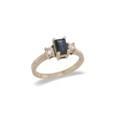 14K Gold Three Stone Sapphire and Diamond Ring Size 7