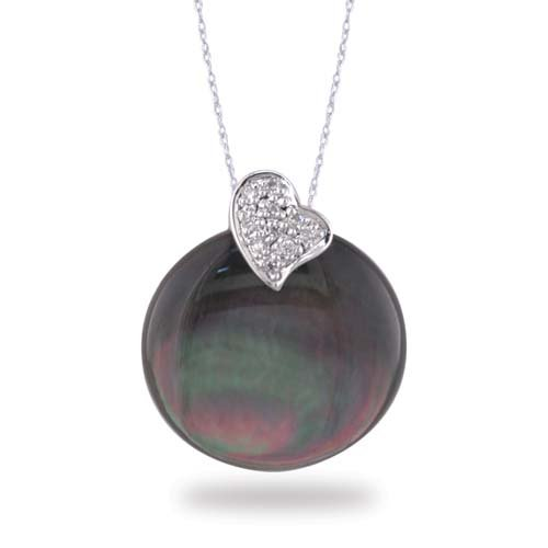 14K White Gold Diamond Heart Shaped Pendant With Black Mother of Pearl