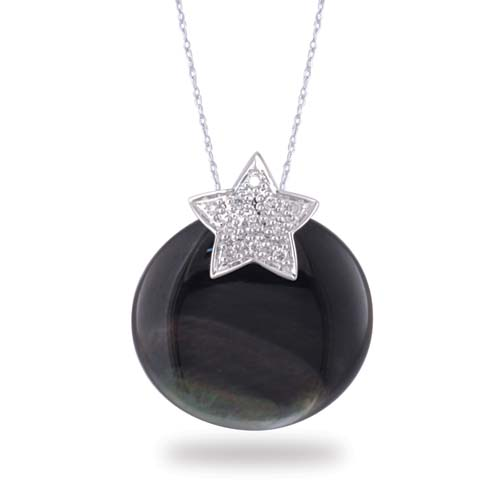 14K White Gold Diamond Star Shaped Pendant With Black Mother of Pearl