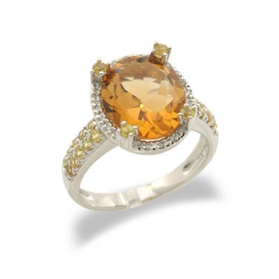 14K White Gold Citrine and Yellow Sapphire and Diamond Ring Size 6.5