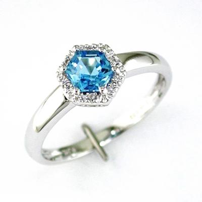 14K White Gold Diamond and Blue Topaz Ring Size 6.75