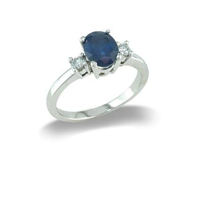 14K Gold Three Stone Sapphire and Diamond Ring Size 7