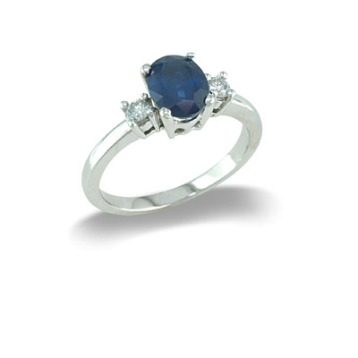14K Gold Three Stone Sapphire and Diamond Ring Size 8