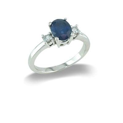 14K Gold Three Stone Sapphire and Diamond Ring Size 8
