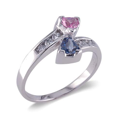 14K White Gold Diamond and Pink Sapphire and Tanzanite Ring Size 8