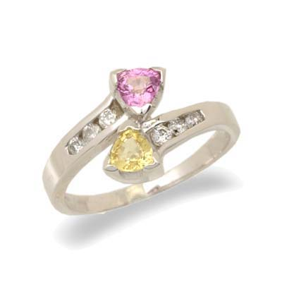 14K White Gold Diamond and Pink and Yellow Sapphire Ring Size 6.5