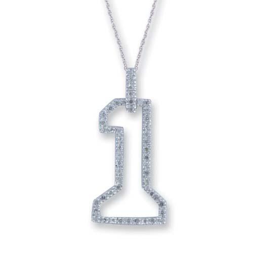 14K White Gold Diamond Number One Pendant