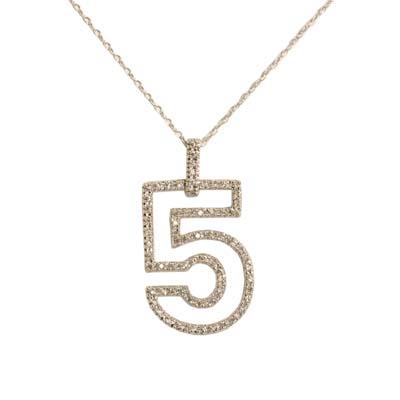14K White Gold Diamond Number Five Pendant
