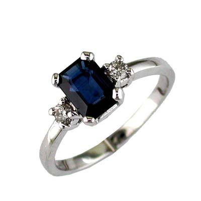14K Gold Diamond and Sapphire Ring Size 7.5
