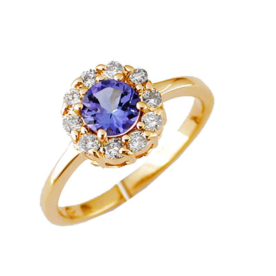 14K Diamond and Tanzanite Ring Size 7.5